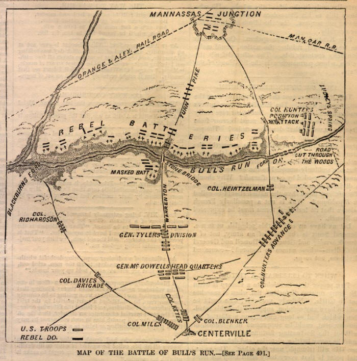Battle Map of First Bull Run (1st Manassas)
