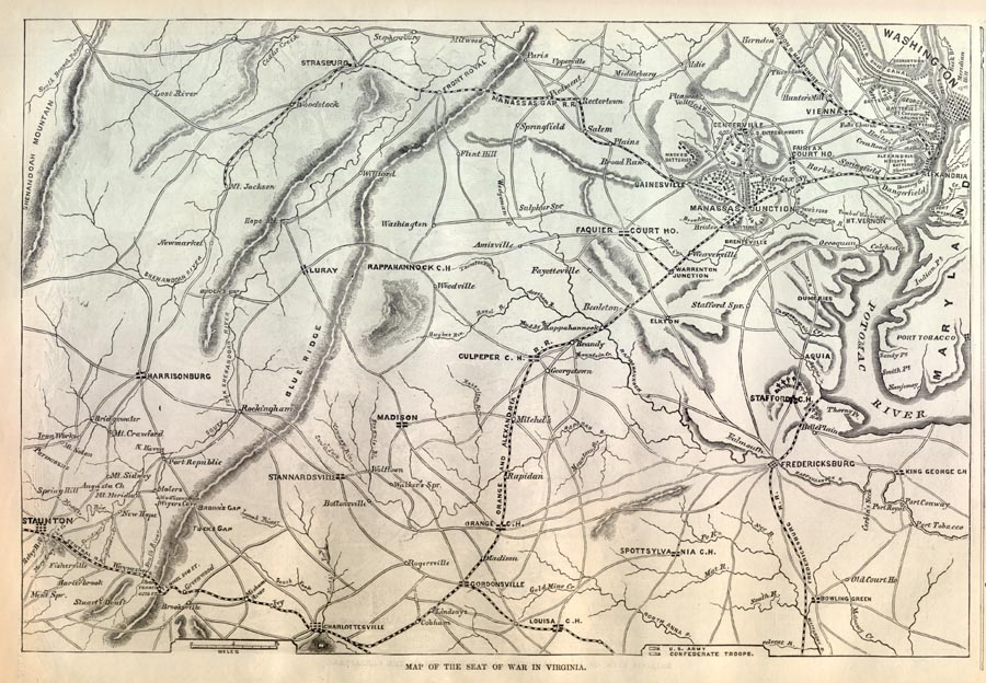 Battle Map of the Civil War in Virginia, Showing Bull Run