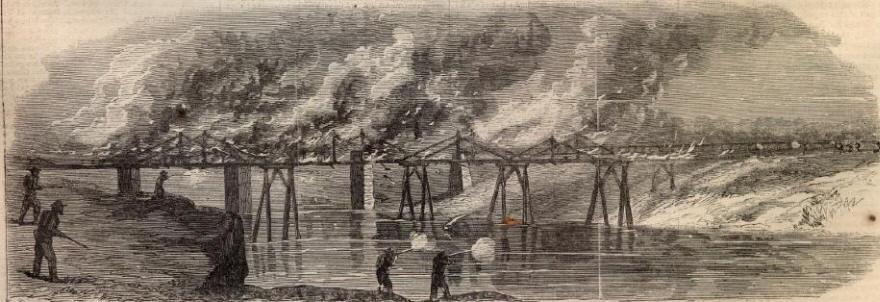 CIVIL WAR BURNING THE BRIDGE AT RESACA RAILROAD DEPOT WOODLANDS KINGSTON GEORGIA