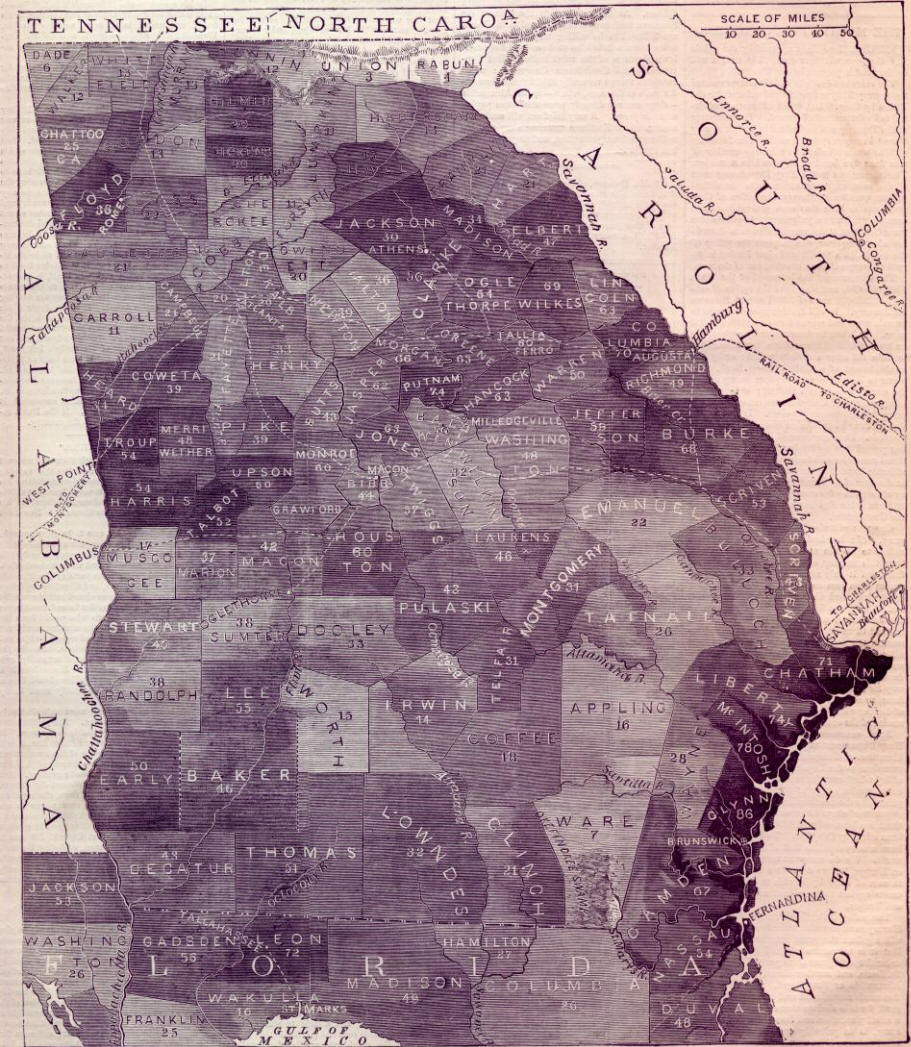 Slave Map - Counties of georgia map
