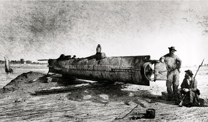 первая подводная лодка ханли