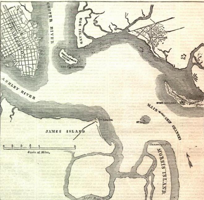 Civil War Map Of Charleston Harbor And Fort Sumter