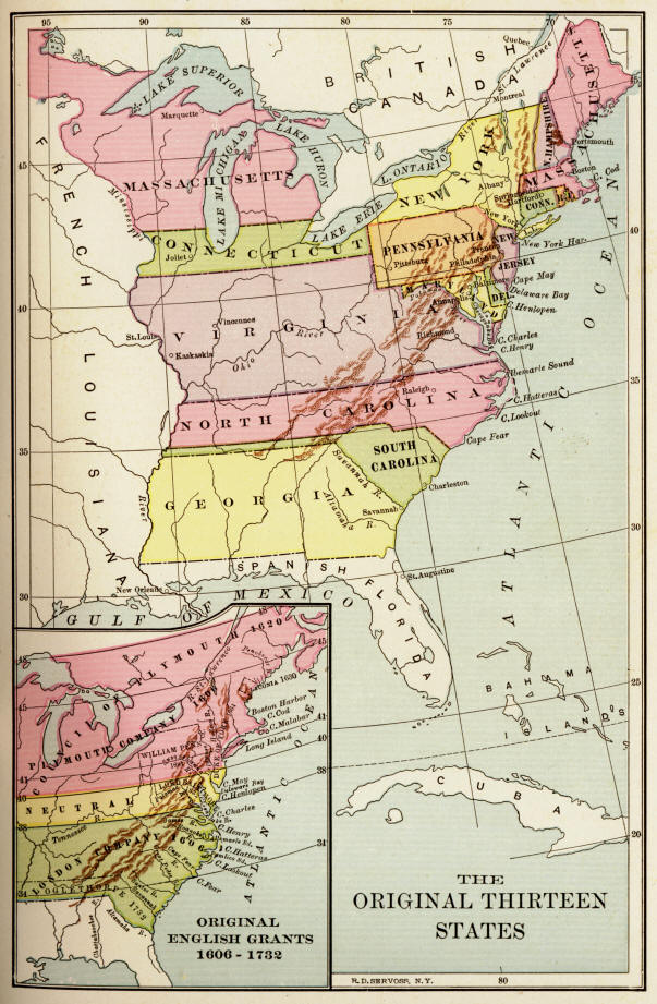 map of the original thirteen states