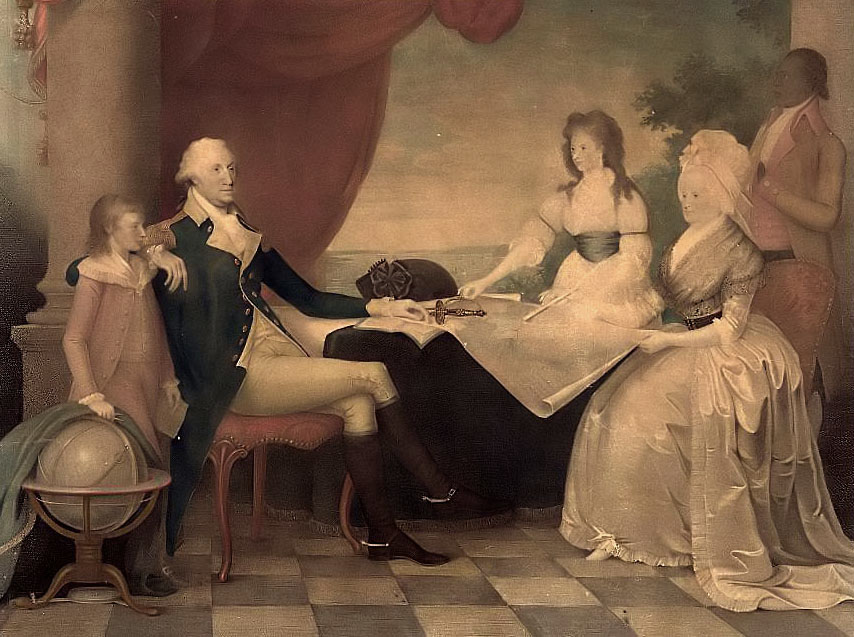 Portrait of george washington and family