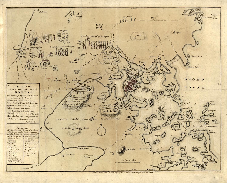 Lexington Concord Battle Map on