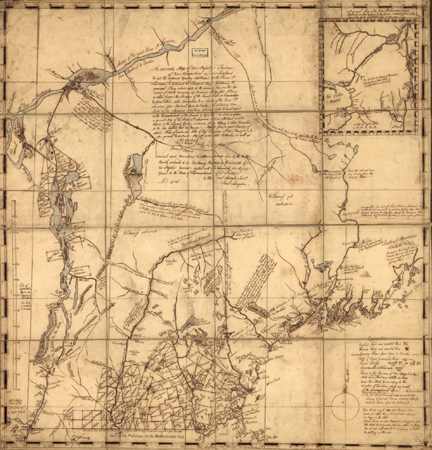 "A map of the New Hampshire Colony that was drawn in 1757, under the rule of Benning Wentworth. The map is inscribed with this description: ""An accurate map of His Majesty's Province of New-Hampshire in New England & all the adjacent country northward to the River St. Lawrence, & eastward to Penobscot Bay, containing the principal places which relate to the present war on the continent of North America. By Samuel Langdon."""