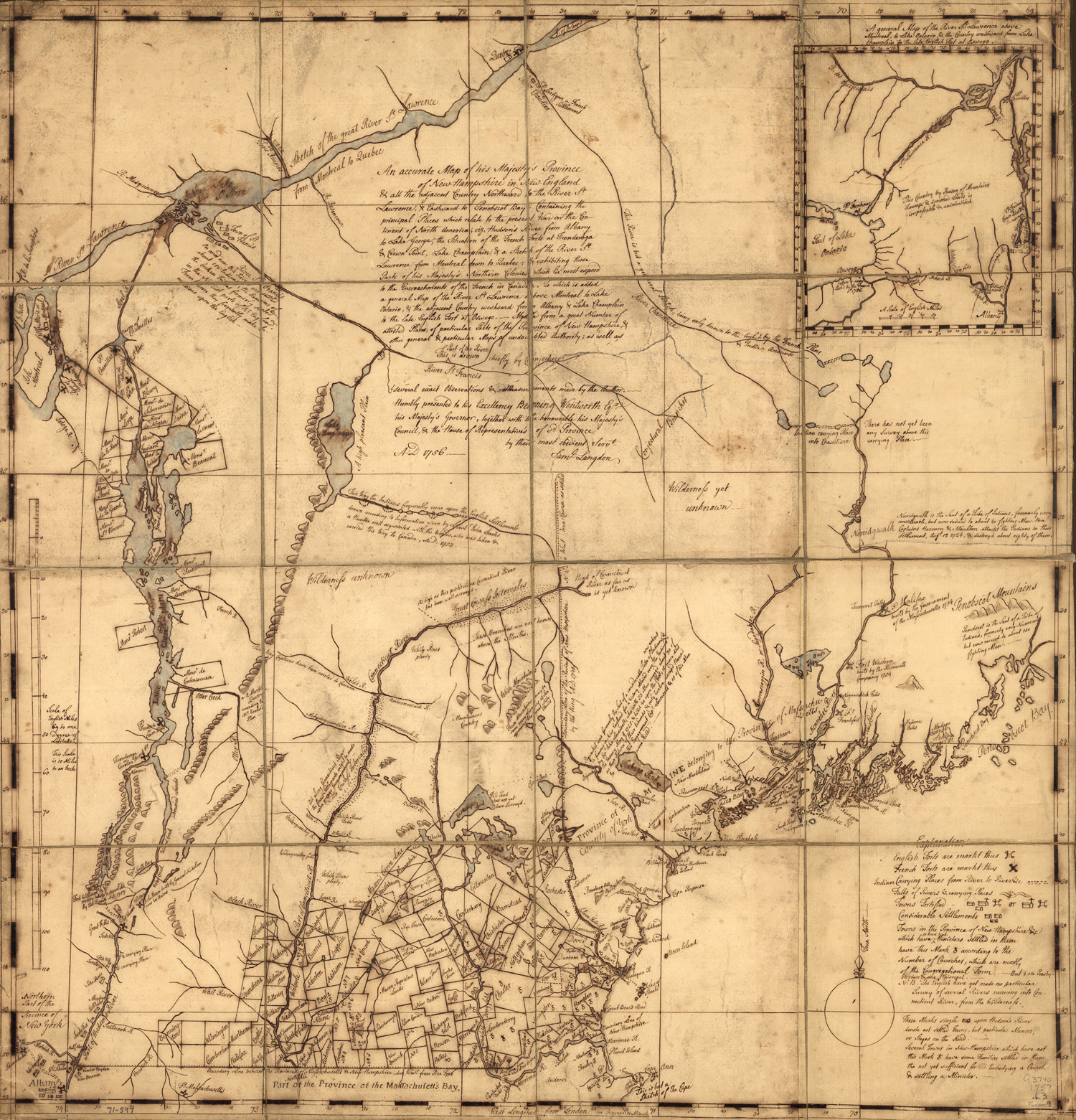 Original 1757 map of the colony of new hshire