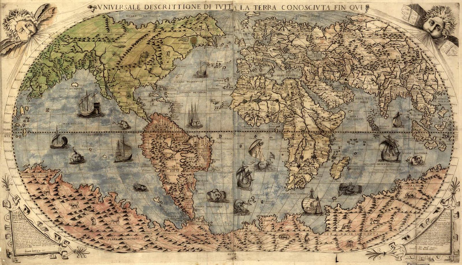 Old map of the world from the 1500 s