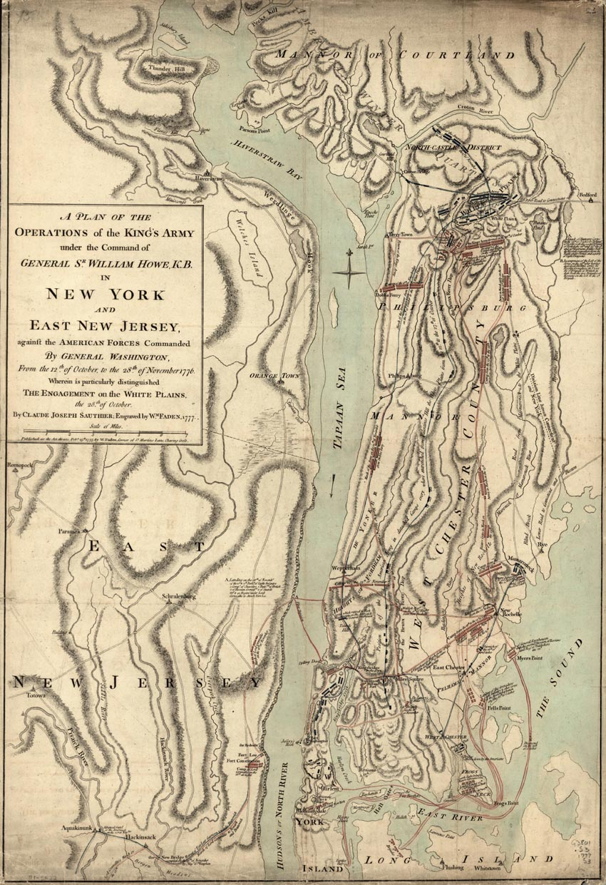 Revolutionary War Map Of New York.White Plains Battle Map