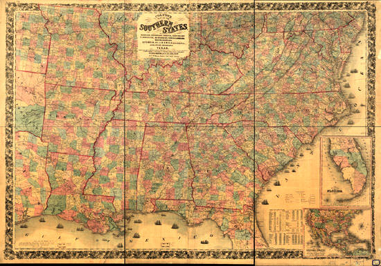 Coltons Slave Map Of Southern States - 1861 us map mason dixon line