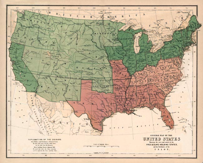 Slavery States Map.Map Of Free And Slave States