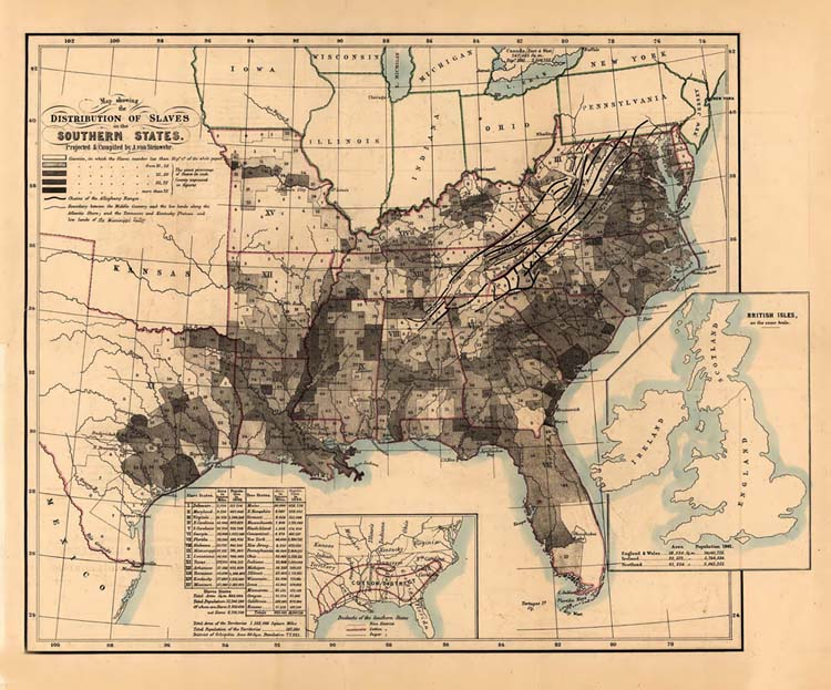 United States Slave Map - Map-of-the-us-in-1861