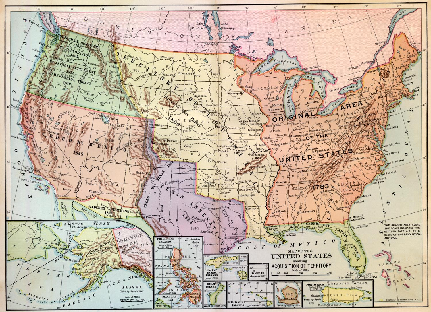 Map showing the territory of the louisiana purchase