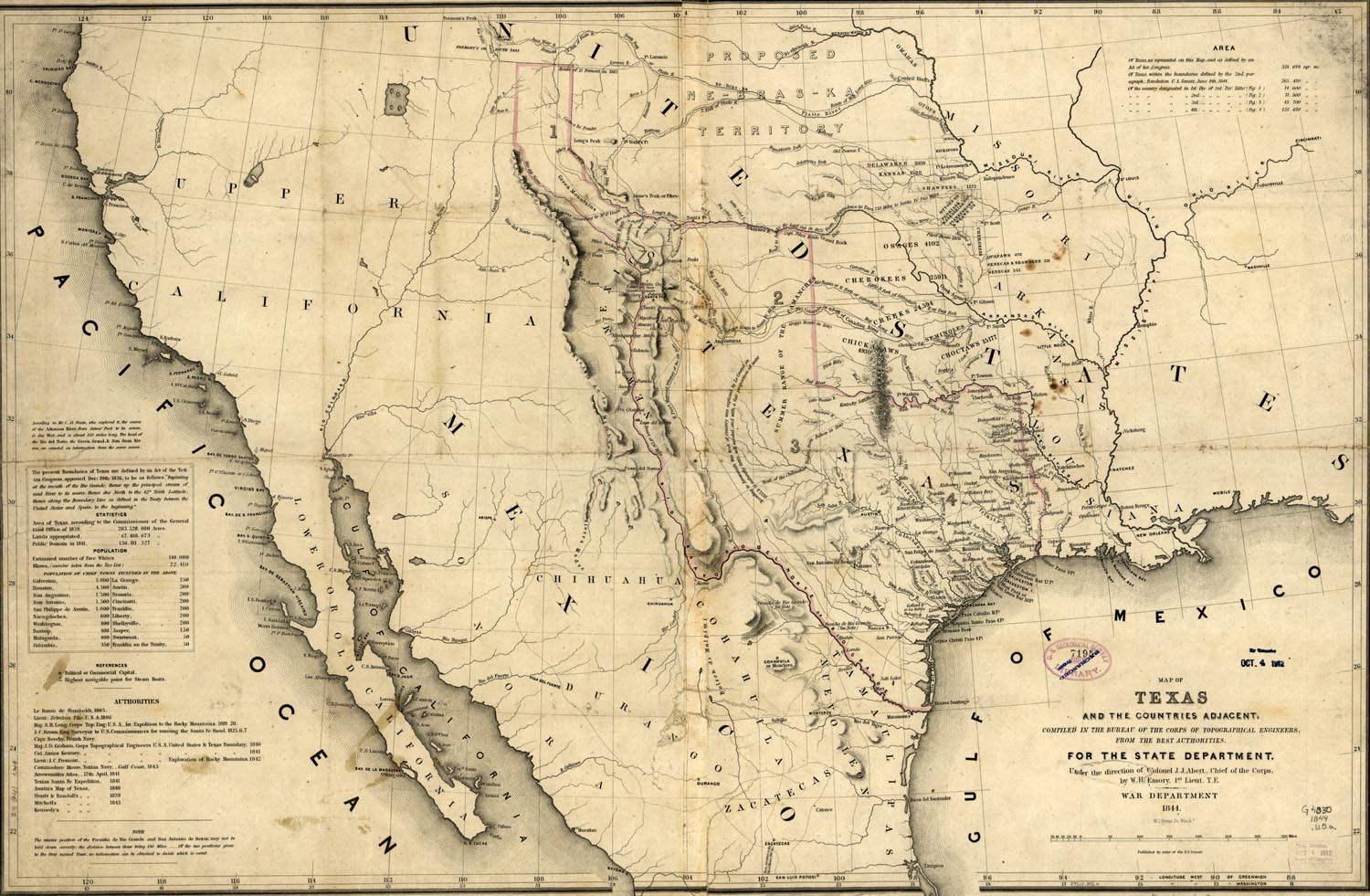 Republic of Texas Map, 1846