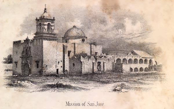 Mission San Jose. On the 14th, General Cos left the town with eleven hundred