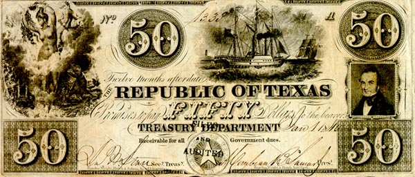 Fifty Dollars Republic of Texas
