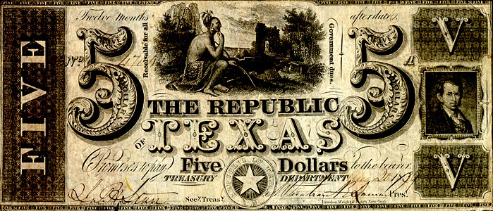 Republic of Texas $5 Bill