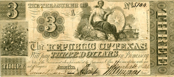 Republic of Texas Three Dollar Currency