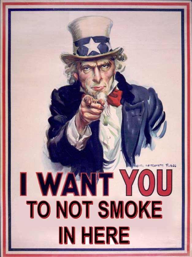Uncle sam wants you to not smoke in here