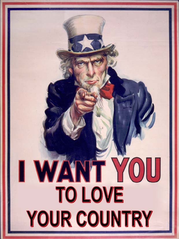 "Patriotic Uncle Sam ""Love Your Country"" Poster"
